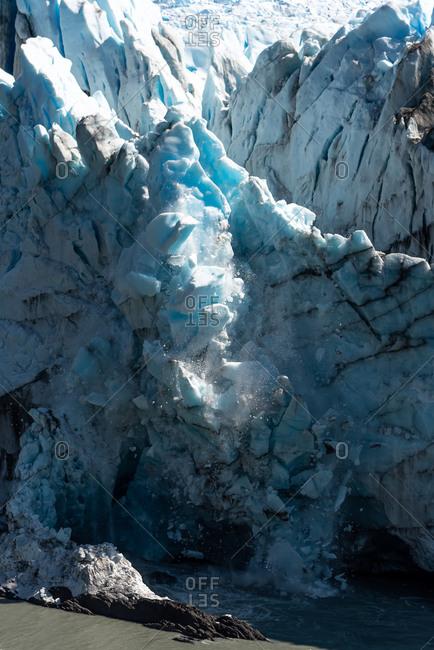 View of ice falling on the Perito Moreno Glacier in Argentina