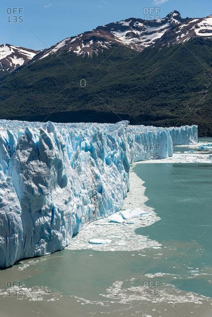 Views of The Perito Moreno Glacier on a sunny day located in the Los Glaciares National Park. Argentina