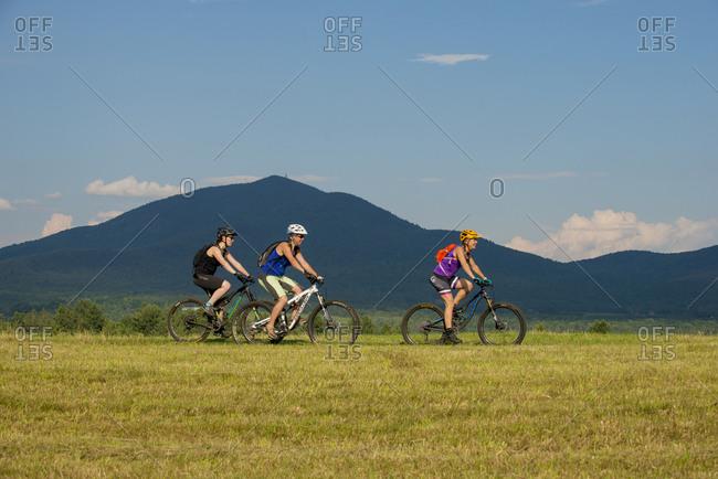 East Burke, Vermont - July 13, 2016: Mountain biking The Kingdom Trails in Vermont's Northeast Kingdom