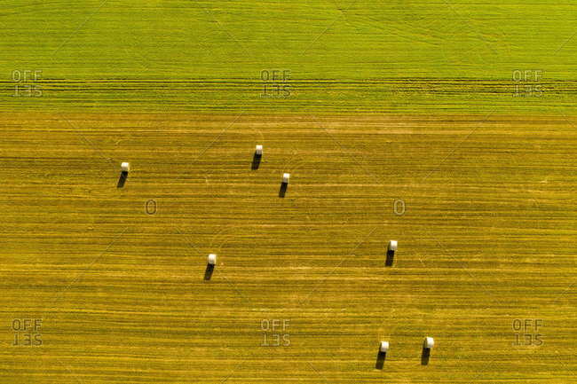 Aerial view of hay bales on a farm field in Whiting, Vermont