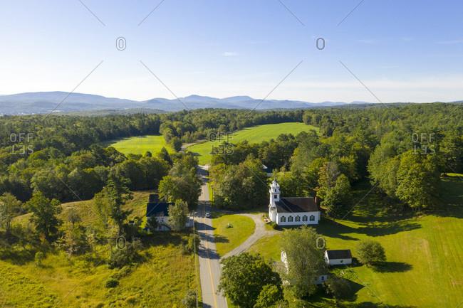 Summertime view looking over West Newbury, Vermont