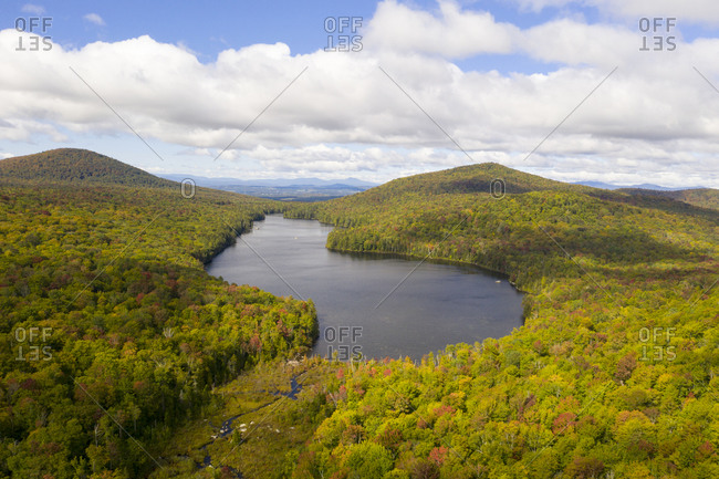 Aerial view of Lake Groton in Vermont
