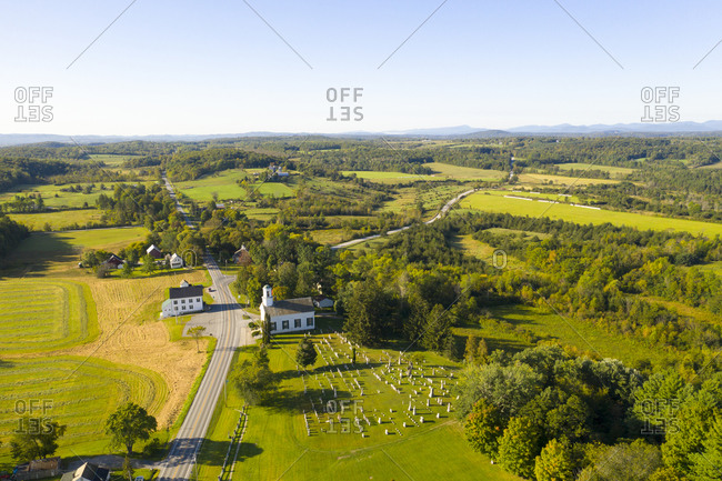 Aerial view over church in the countryside in Cornwall, Vermont