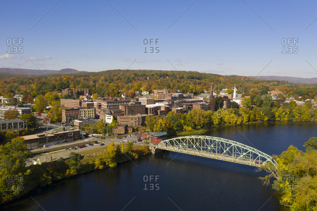 Brattleboro, Vermont - October 14, 2019: Aerial view over the Connecticut River and bridge