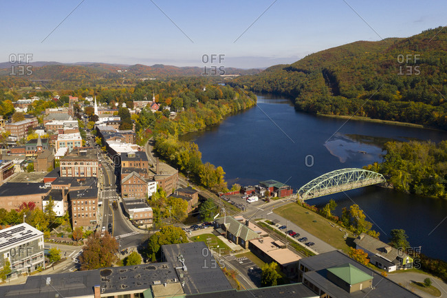 Brattleboro, Vermont - October 14, 2019: Aerial view over the town of Brattleboro alongside the Connecticut River