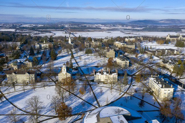 Middlebury, Vermont - November 21, 2019: Winter drone view over Middlebury College