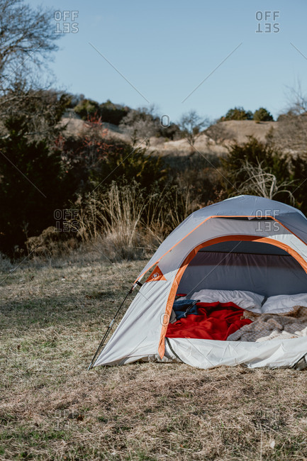 Tent open in the countryside in rural Texas