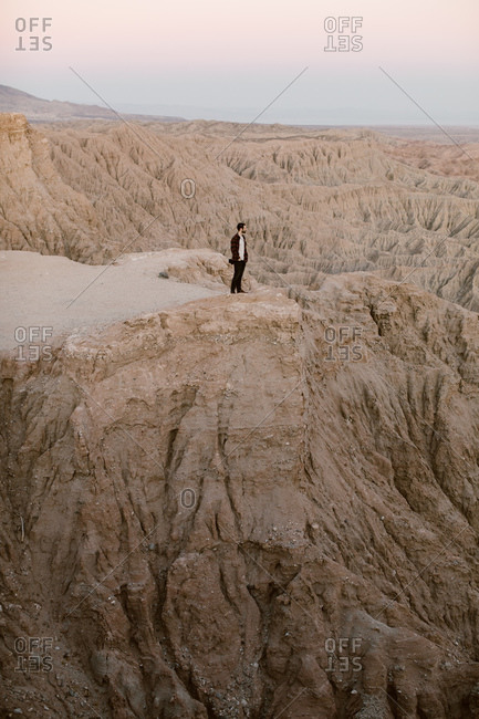 Man looking out at the Badlands Anza Borrego desert