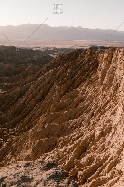 Texture of mountainside at Fonts Point in the Anza Borrego Desert at sunrise