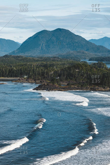 Waves rolling into Cox Bay in Tofino, Vancouver Island, British Columbia