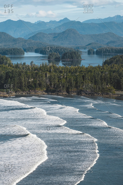 Bird's eye view over waves on the coast of Tofino, Vancouver Island, British Columbia