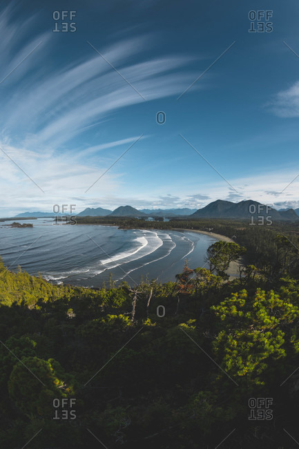 Bird's eye view over Cox Bay in Tofino, Vancouver Island, British Columbia