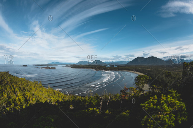 View over Cox Bay in Tofino, Vancouver Island, British Columbia