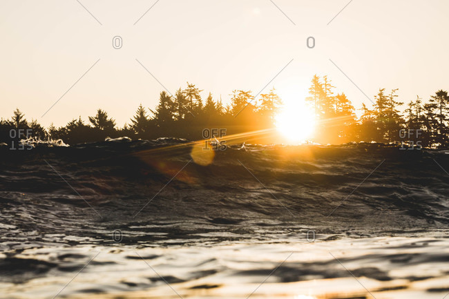 Sunset behind waves and trees, Vancouver Island, British Columbia