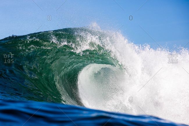 Detail of large cresting wave in the ocean