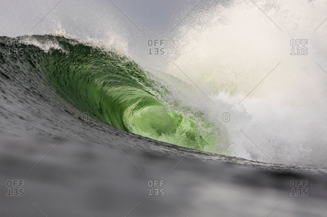 Detail of large green curling wave in the ocean
