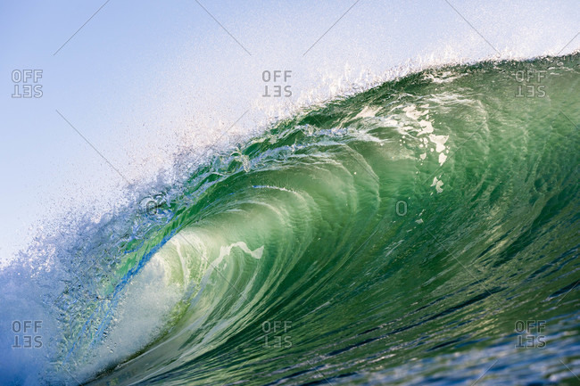 Close up of turquoise wave in the ocean