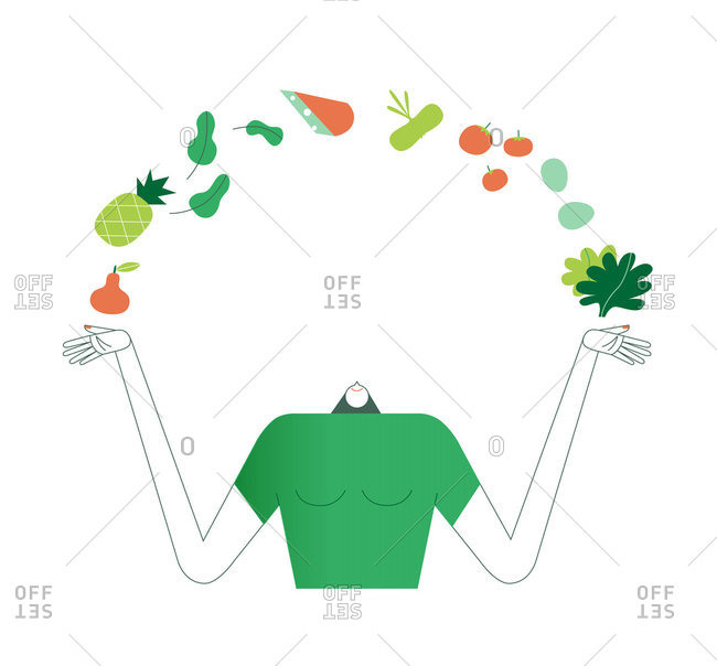 Woman juggling fruits and vegetables