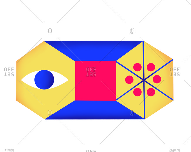 Colorful graphic with shapes and an eye