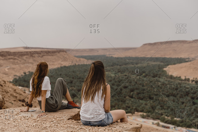 Back view of two young women enjoying view- Fez- Morocco