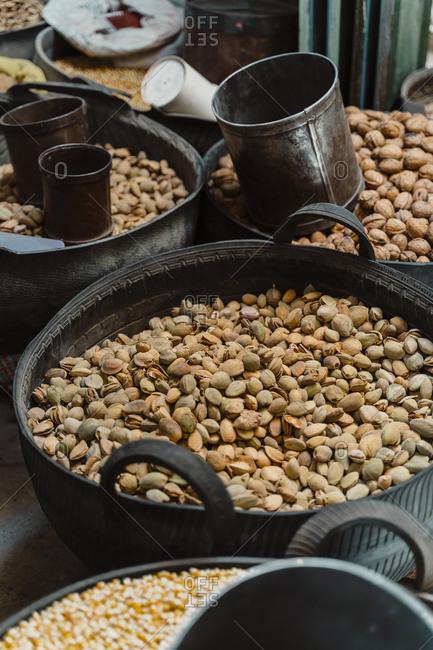 Fresh pistachios at spice market- Fez- Morocco