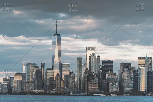 USA- New York-Manhattan skyline with One World Trade Center