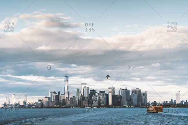 November 3, 2019: USA- New York- Manhattan skyline with One World Trade Center