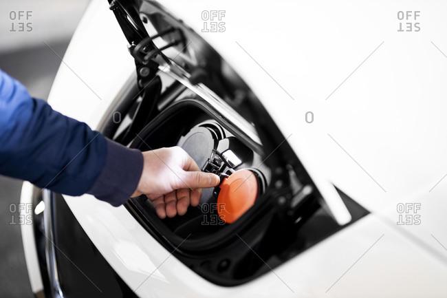 Charging unit of electric car- close up