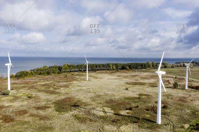 Russia- Kaliningrad Oblast- Zelenogradsk- Wind farm on coast of Baltic Sea