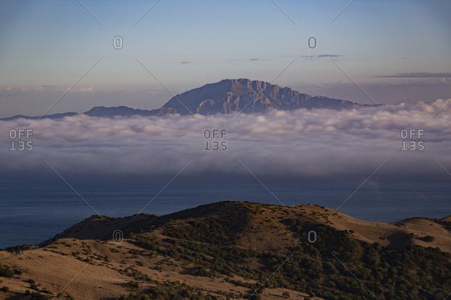 Spain- Clouds over Strait of Gibraltar at dusk
