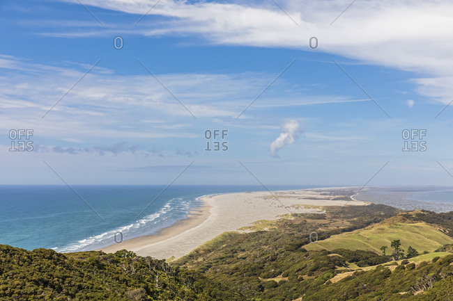 New Zealand- Scenic view of Cape Farewell headland and Farewell Spit