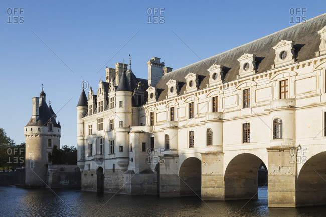 France-DocuCentre-Val Loire- Chenonceaux- Clear sky over Chateau Chenonceau