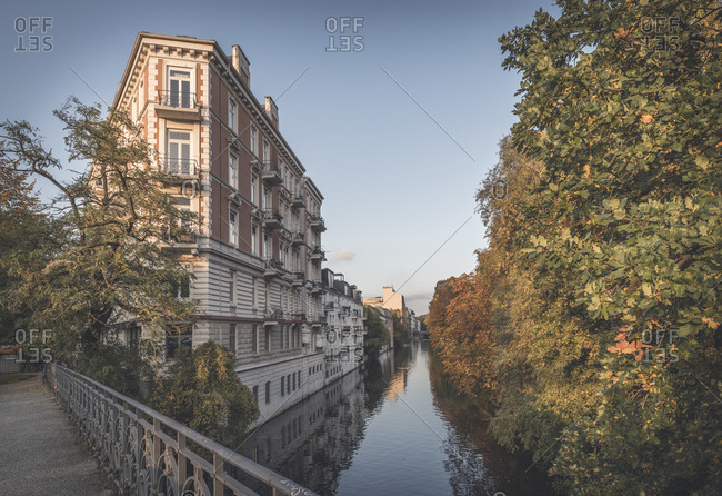 Germany- Hamburg- Old building on Isebekkanal in autumn