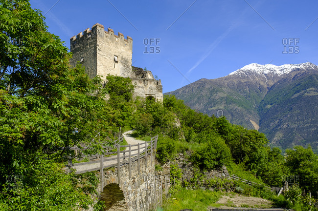 Italy- South Tyrol- Morter- Castle Obermontani surrounded by green trees