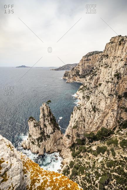 France- Cote d'Azur- Calanques National Park- Chalk cliffs