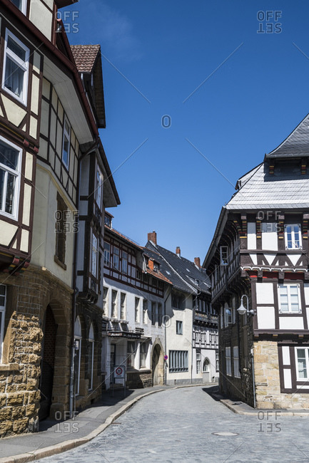 April 24, 2019: Germany- Lower Saxony- Goslar- Alley between half-timbered houses of historical town