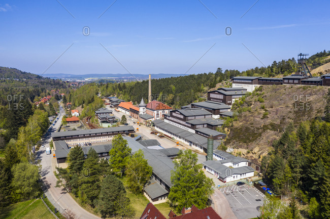 Germany- Lower Saxony- Goslar- Aerial view of Mines of Rammelsberg in spring