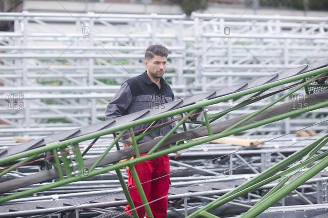 Skilled worker- working in conveyor belt shop