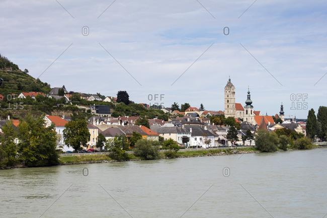 August 15, 2019: Austria- Lower Austria- Krems an der Donau- Houses of riverside town