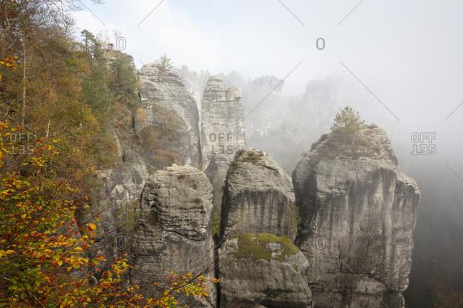 Germany- Saxony- Rathen- Bastei rock formation in autumn