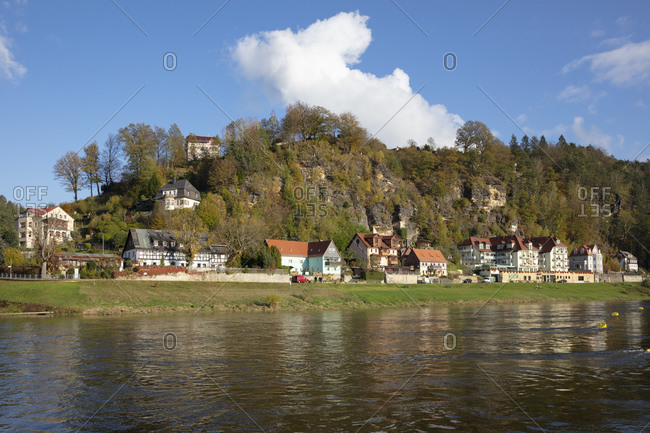 October 30, 2019: Germany- Saxony- Rathen- Village on bank of Elbe river in Saxon Switzerland National Park