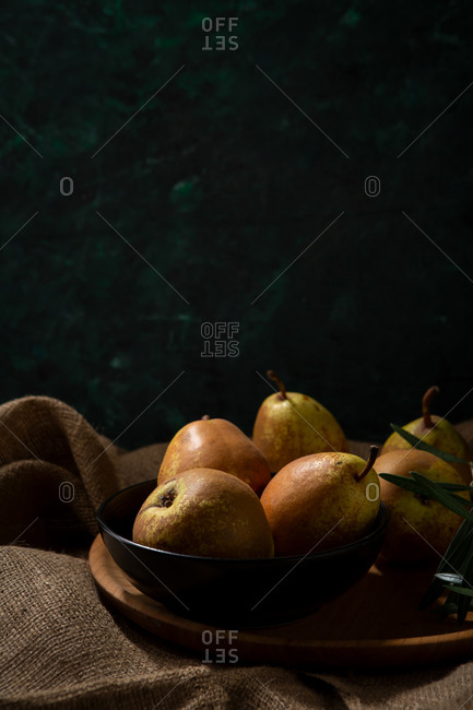 Whole pears in a bowl