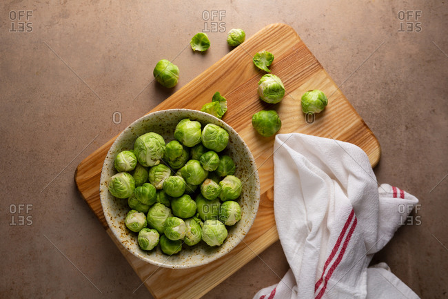 Brussel sprouts on light surface