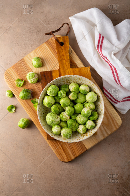 Overhead view of Brussel sprouts on light background