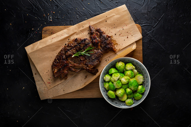 Fresh cooked roast beef and brussel sprouts