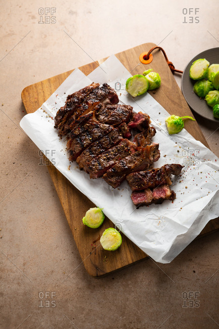 Juicy fresh cooked roast beef sliced