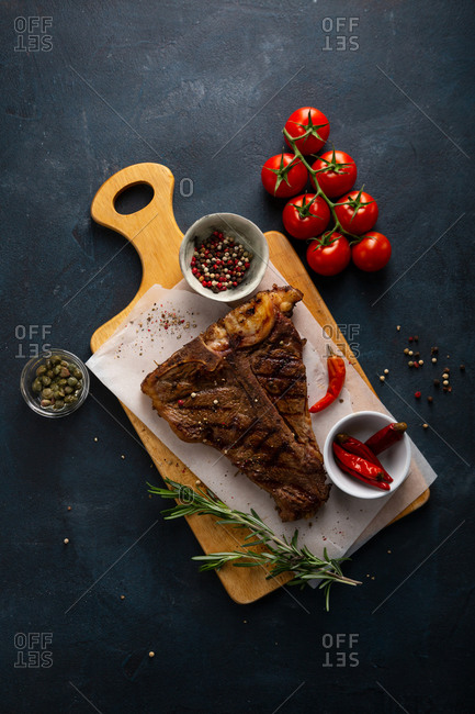 Cooked beef steak with rosemary