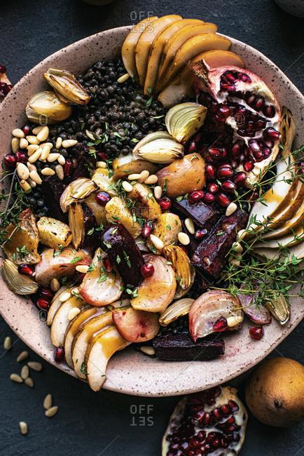 Roasted Beet Lentil Salad