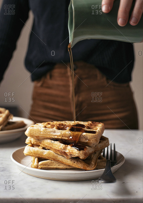 Syrup Pouring on Waffles