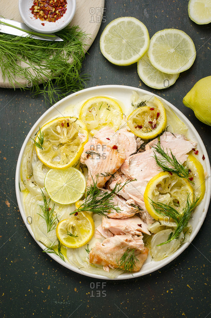 Oven roasted salmon with fennel and citrus